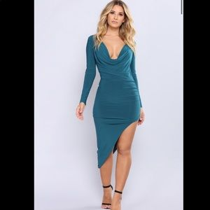 2/$55 FashionNova Christen Ruched Dress Green